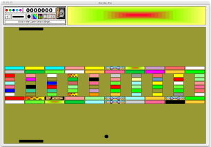 A reduced screenshot of Brickles Pro for the Macintosh, showing one possible configuration of a 2-Paddle game.