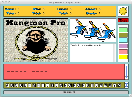A reduced screenshot of Hangman Pro for the Macintosh
